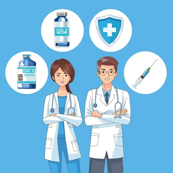 Médecins couple personnages avec illustration d & # 39; icônes de vaccin