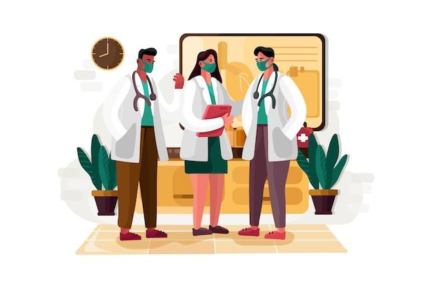 Médecins debout ensemble illustration