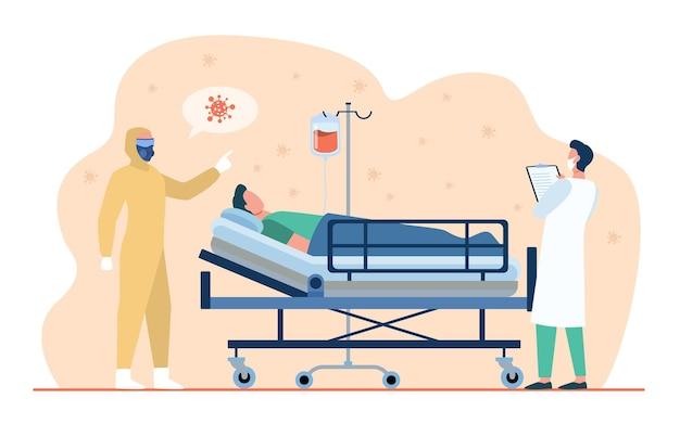 Médecins donnant un traitement à un patient covid