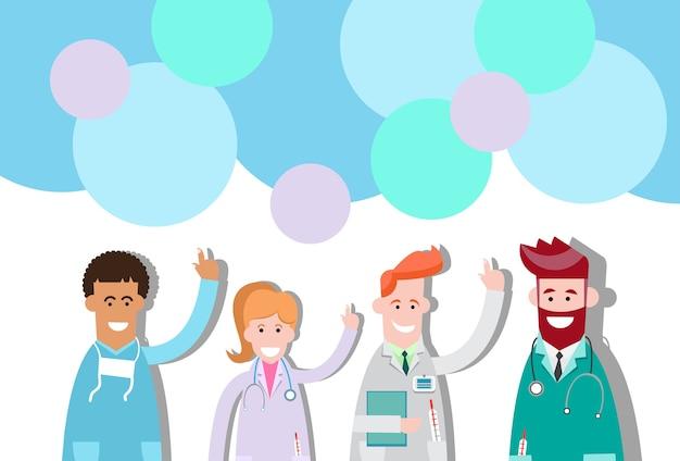 Les médecins du groupe medial point doigt pour copier la bulle de conversation spatiale