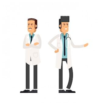 Médecins d'équipe sur fond blanc. illustration dans un style plat