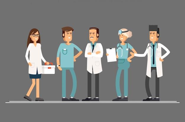 Médecins d'équipe sur fond blanc