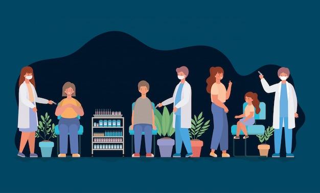 Médecins féminins et masculins vaccinant femme homme et fille conception de soins médicaux santé et illustration de thème d'urgence