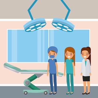 Médecins femmes debout dans la chambre avec des lumières de lit de roue et de la fenêtre