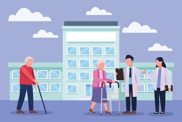 Médecins gériatriques et grands-parents