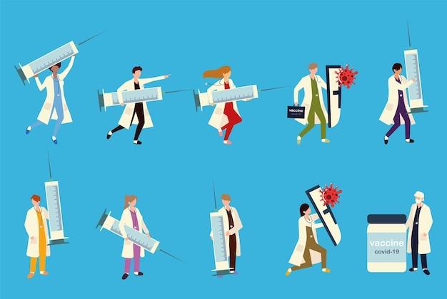 Médecins grosse seringue avec vaccin, injection, prévention et vaccination à titre d'illustration