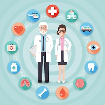 Médecins avec des icônes médicales.