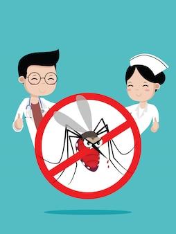 Médecins et infirmières aucun signe de moustique