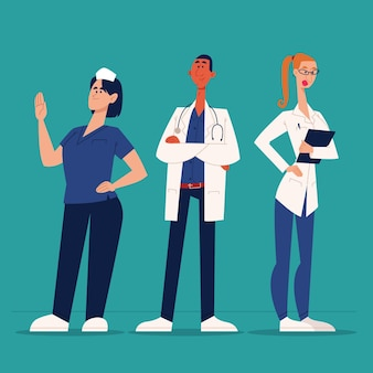 Médecins et infirmières de dessin animé