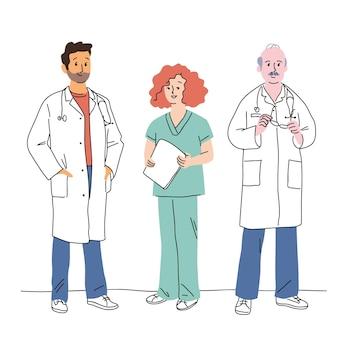 Médecins et infirmières dessinés à la main