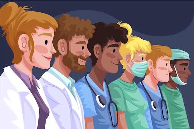 Médecins et infirmières détaillés