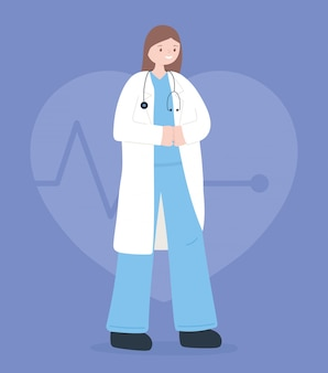 Médecins et infirmières, femme médecin avec stéthoscope et caricature de manteau