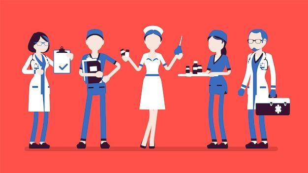 Médecins, infirmières. gens souriants en uniforme d'hôpital occupés par le travail en clinique, attrayants, qualifiés dans la pratique, pleine longueur. concept de médecine et de soins de santé. illustration, personnages sans visage