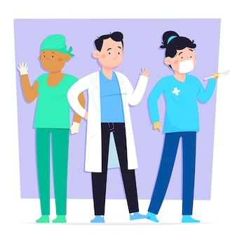 Médecins et infirmières de style dessin animé