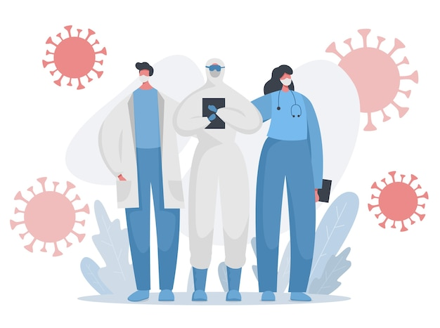 Médecins, Infirmières En Uniforme Protégé Luttant Contre La Pandémie De Covid Vecteur Premium