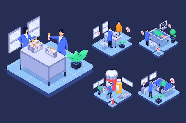 Médecins isométriques faisant des recherches en laboratoire, patient sur le lit pour recevoir un traitement en personnage de dessin animé, concept de médecine. illustration plate