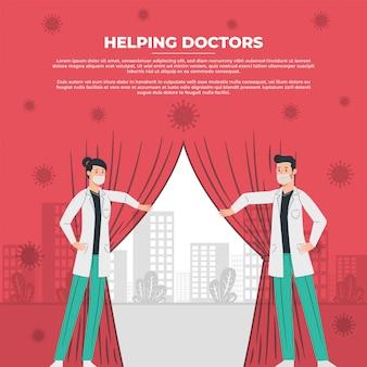 Des médecins masculins et féminins arrêtent le virus et ouvrent les rideaux vers un monde meilleur