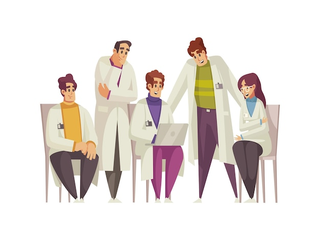 Médecins masculins et féminins ont une caricature de conférence médicale
