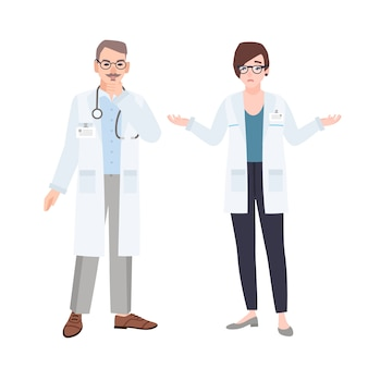 Des médecins masculins et féminins portant des blouses blanches se parlent. illustration de dessin animé plat.