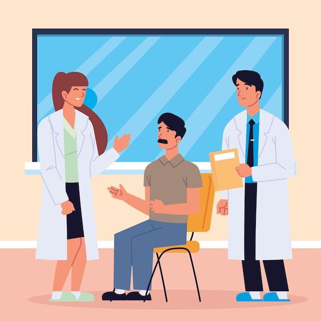 Médecins parlant patient consultent
