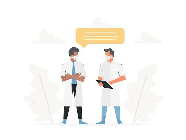 Des médecins parlent d'une consultation médicale une conversation avec un médecin au sujet du résultat de l'examen
