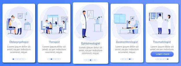 Médecins avec des patients intégrant le modèle d'écran de l'application mobile.