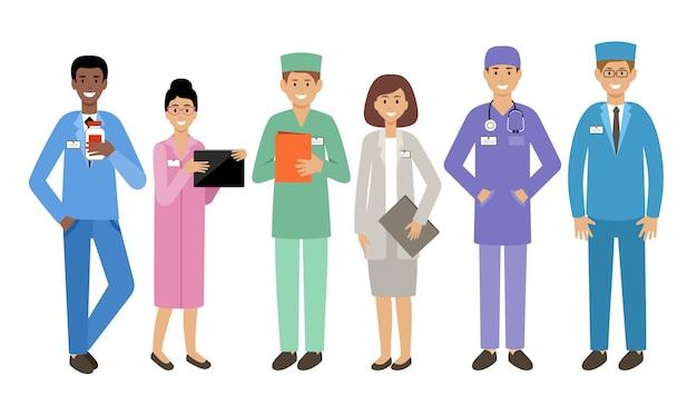 Médecins de personnes sur fond blanc. médecins spécialistes. épidémie. virologues