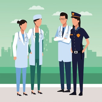Médecins, police, femme, debout
