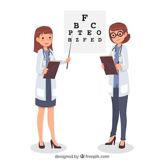 Médecins avec presse-papiers dans un style dessiné à la main