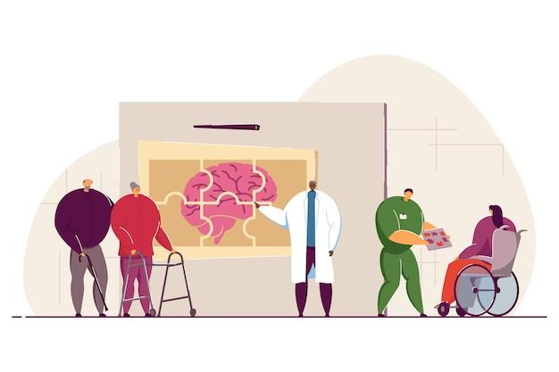 Médecins ou scientifiques qui étudient des patients atteints de la maladie cérébrale d'alzheimer.