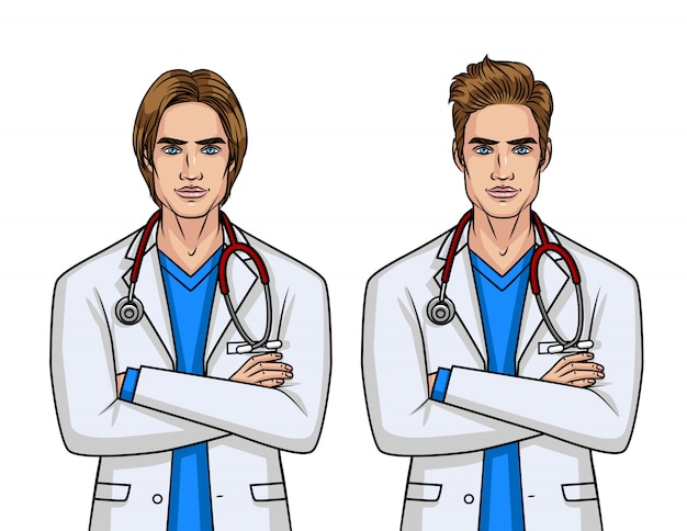 Médecins de sexe masculin avec une coiffure différente
