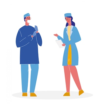 Médecins en uniforme cartoon illustration vectorielle