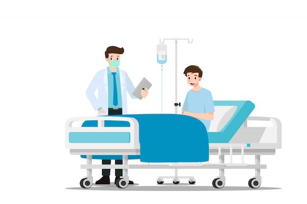 Les médecins visitent et soignent le patient.