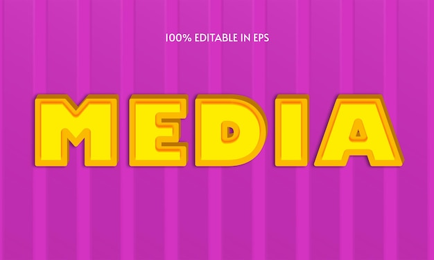 Media bold 3d text effect typographie eps modifiable