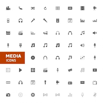 Média multimedia icon set vector illustration