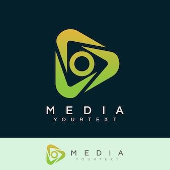 Médias initiale lettre o logo design