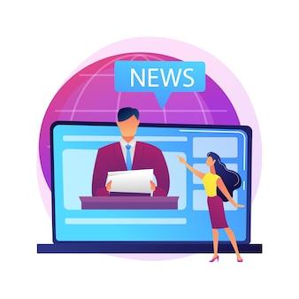 Médias de masse. personnage de dessin animé de journaliste. nouvelles quotidiennes, radiodiffusion, presse en ligne, journalisme sur internet. concept de médias sociaux. correspondant, journaliste.