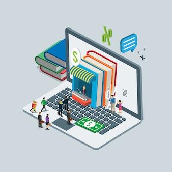 Médias numériques sur le livre en ligne shopping concept isométrique