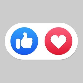 Les médias sociaux aiment et icônes de coeur