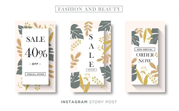 Médias sociaux de bannière florale de mode et de beauté ou modèle d'histoire instagram
