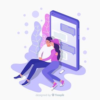Médias sociaux avec concept d'application de rencontres