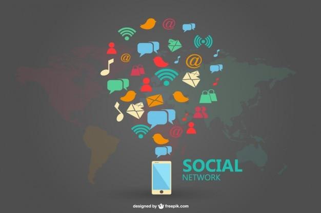 Médias sociaux conception infograhic