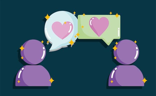 Médias sociaux, couple chat aime illustration de concept romantique