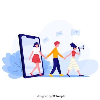 Les médias sociaux dans le concept de parrainer un ami