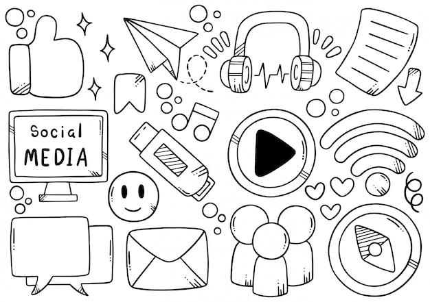 Médias sociaux dessinés à la main