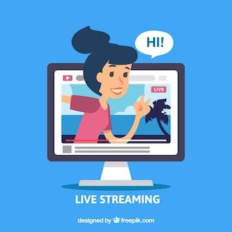 Les médias sociaux en direct en streaming avec un design plat