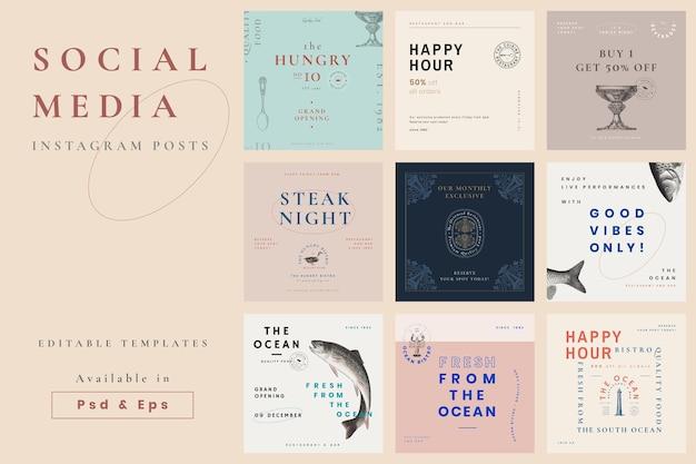 Les médias sociaux du restaurant publient un design esthétique vectoriel, remixé à partir d'œuvres d'art du domaine public