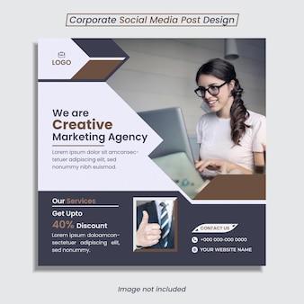 Les médias sociaux d'entreprise publient un design unique avec des formes créatives.