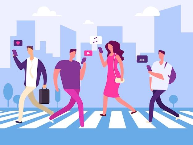 Les médias sociaux et les gens dans le concept de la grande ville