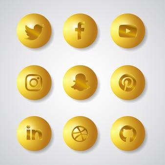 Médias sociaux gold gardient 3d icons set